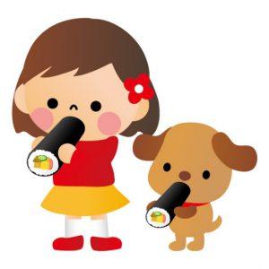 恵方巻きを犬と一緒に食べるところ