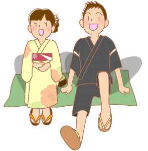 浴衣と甚平を着たカップル